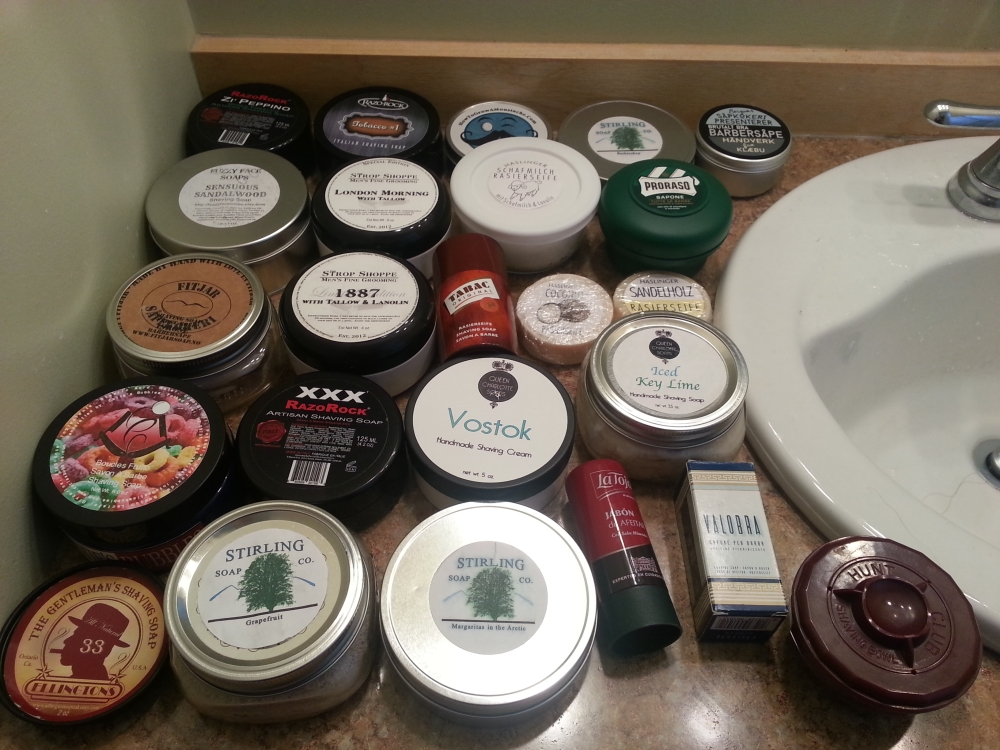My current soaps. Many have came and went. Ive traded away many. These are what I currently have at my disposal.....but I am sure it will change, as I have added Soapy Bathman Lumberjack to the pile.