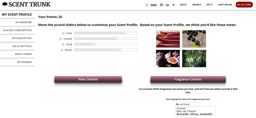 A screen capture of my scent profile in which you select the notes/accords you enjoy